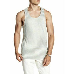 Public Opinion Muscle Tank Top Gray Green Stripe